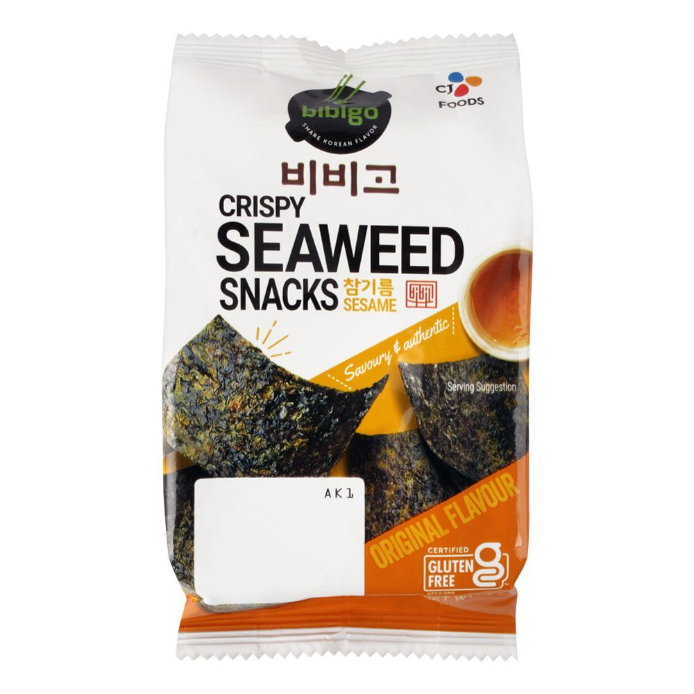 Bibigo Crispy Seaweed Snacks, Sesame, Original Flavour, Gluten Free, 5g
