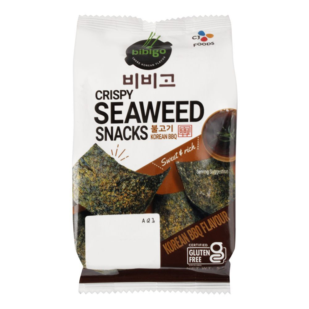 Bibigo Crispy Seaweed Snacks, Korean BBQ Flavour, Gluten Free, 5g