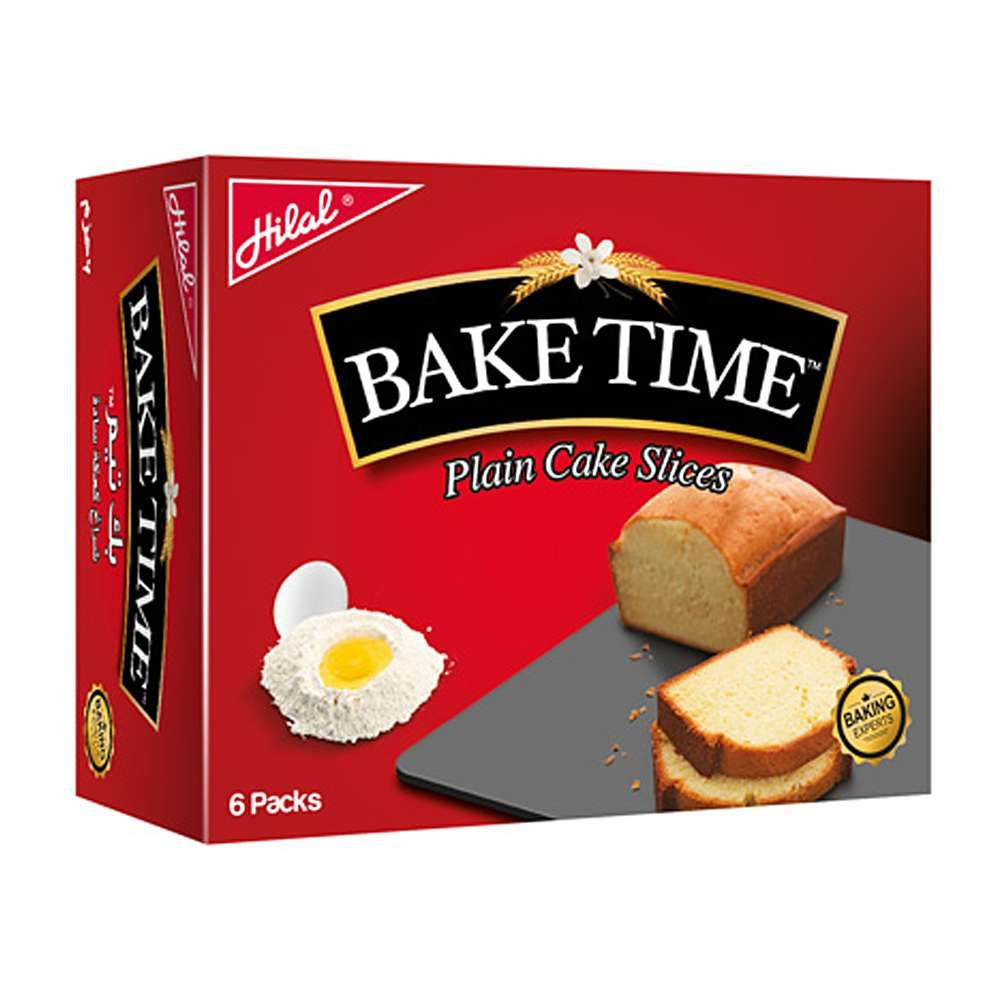 Hilal Bake Time Plain Cake Slice, 6 Packs, 40g