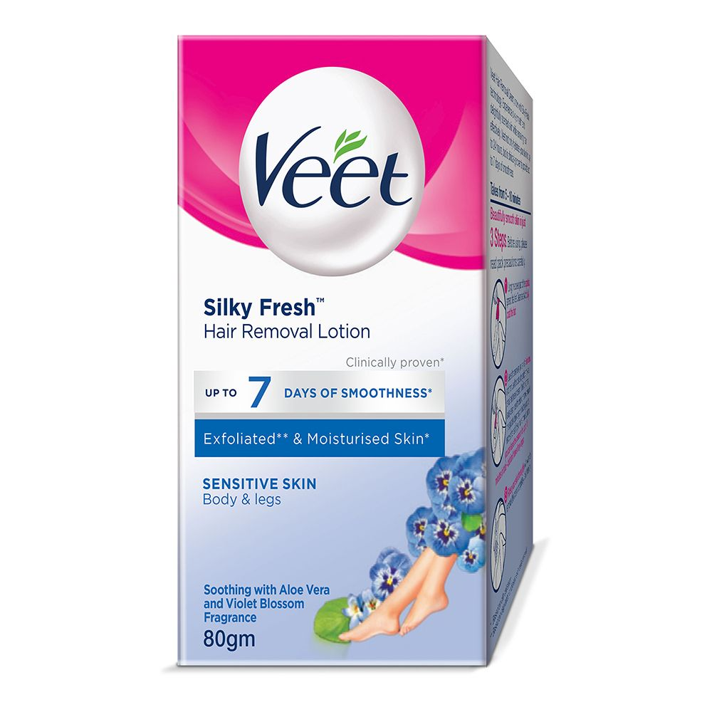 Veet Silky Fresh Sensitive Skin Hair Removal Lotion, Body & Legs, Sensitive Skin, 80g