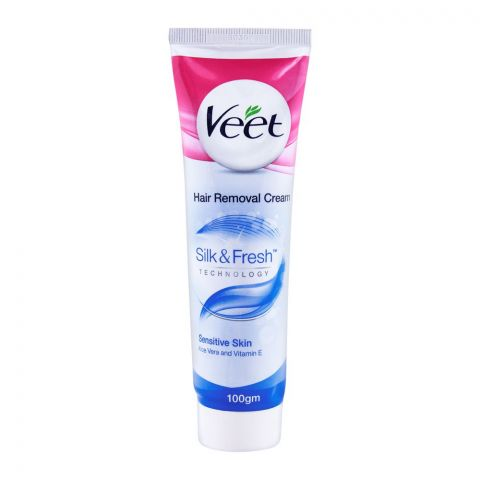 Veet Silk & Fresh Sensitive Skin Hair Removal Cream, With Aloe Vera & Vitamin-E, 100ml