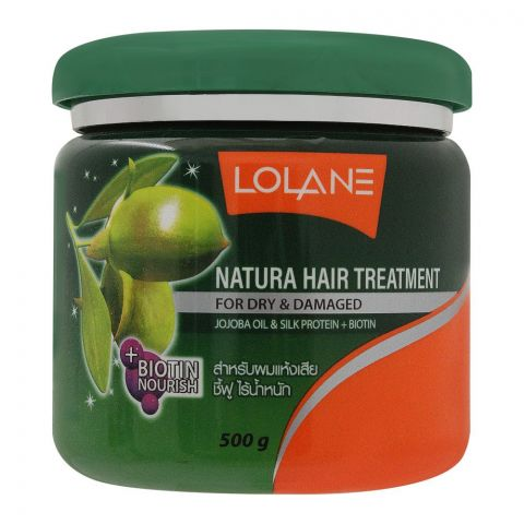 Lolane Natura Hair Treatment, Jojoba Oil & Silk Protein, For Dary & Damaged, 500g