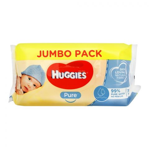 Huggies Pure Baby Wipes, Jumbo Pack, 72-Pack