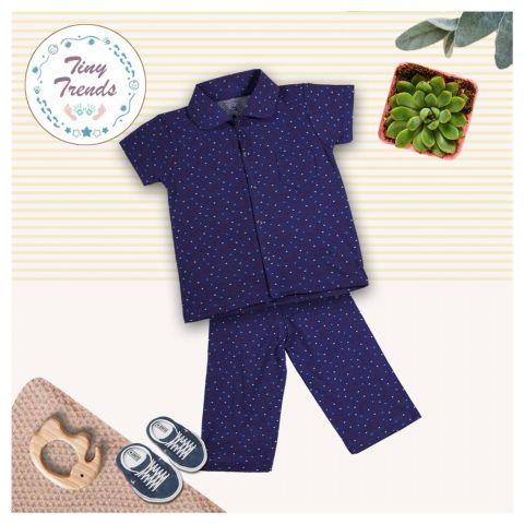 Tiny Trends Boys Night Suit, Blue