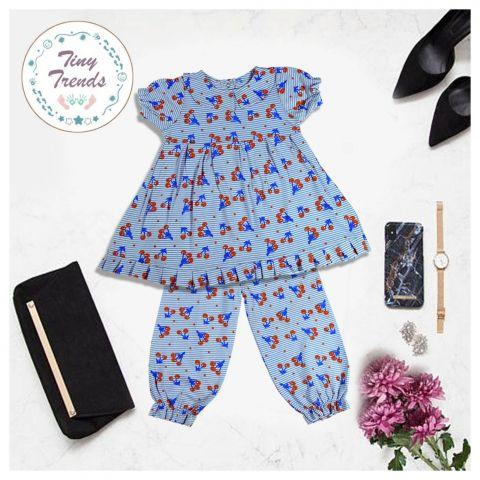 Tiny Trends Girls Night Suit, Blue