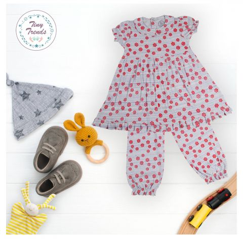 Tiny Trends Girls Night Suit, Red 8yr