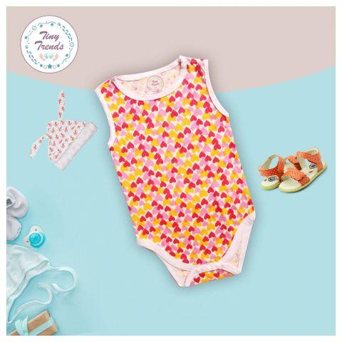 Tiny Trends Heart Print S/L Single Jersey Body Suit