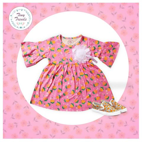 Tiny Trends Pleats Frock With Flower, Pink Printed