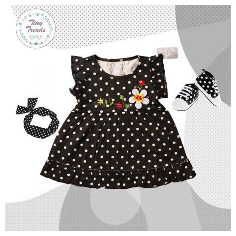 Tiny Trends Polka Dot Print Girls Frock, Black Combo