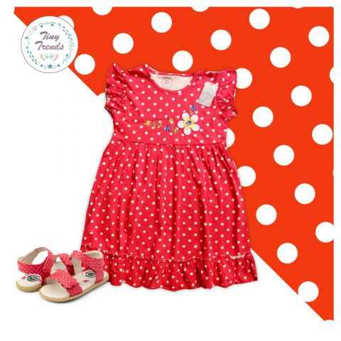 Tiny Trends Polka Dot Print Girls Frock, Red Combo