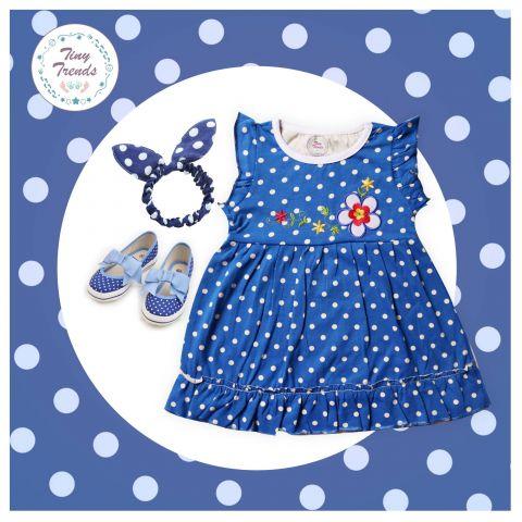 Tiny Trends Polka Dot Print Girls Frock, Royal Combo