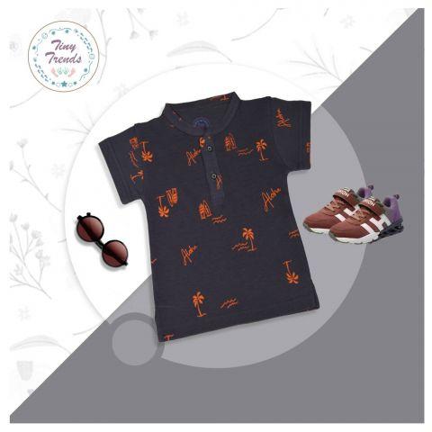 Tiny Trends Boys Polo, Sherwani Collar, Aloha Print Dark Grey