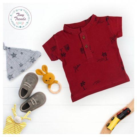 Tiny Trends Boys Polo, Sherwani Collar, Aloha Print Maroon