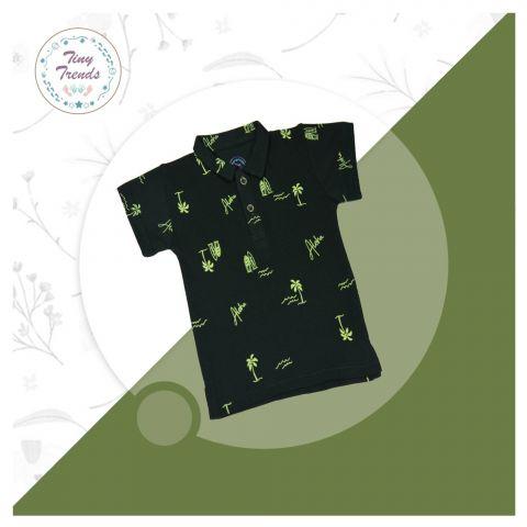 Tiny Trends Boys Polo, Shirt Collar, Aloha Print Green