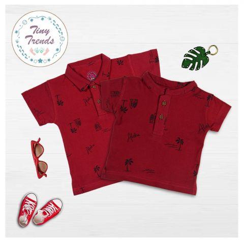 Tiny Trends Boys Polo, Shirt Collar, Aloha Print Maroon