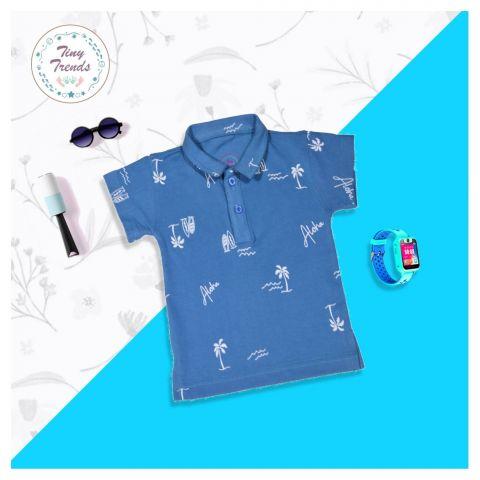 Tiny Trends Boys Polo, Shirt Collar, Aloha Print Royal