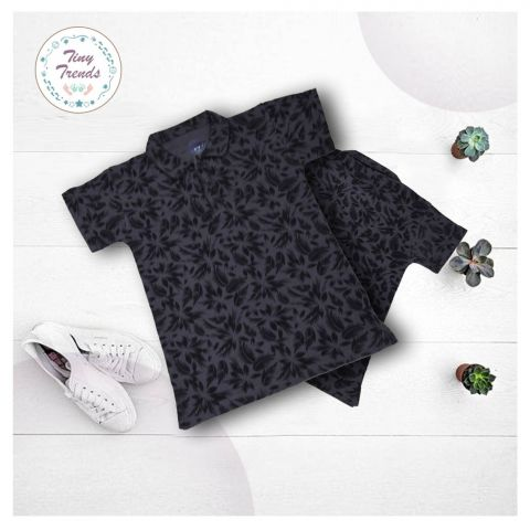 Tiny Trends Boys Polo, Shirt Collar, Floral Print Charcoal