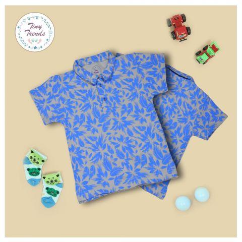 Tiny Trends Boys Polo, Shirt Collar, Floral Print Fawn
