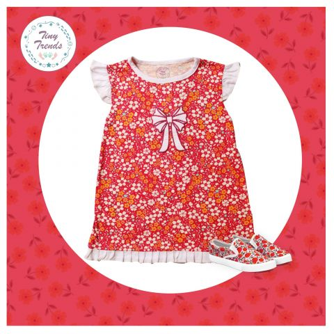 Tiny Trends Girls Single Jersey Frock, Red