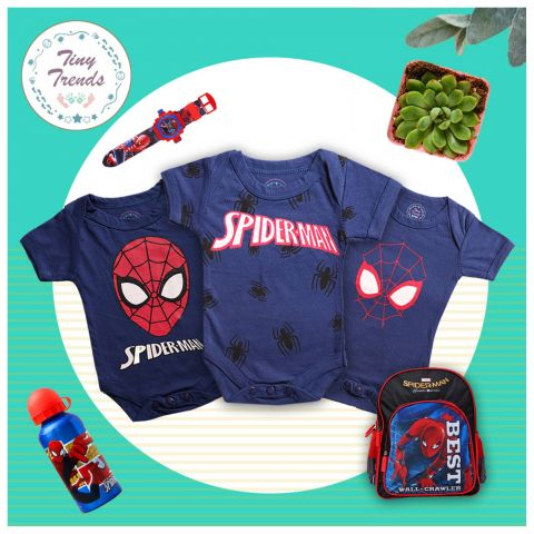 Tiny Trends Spider Combo H/S Body Suit, 3 Pieces, Navy