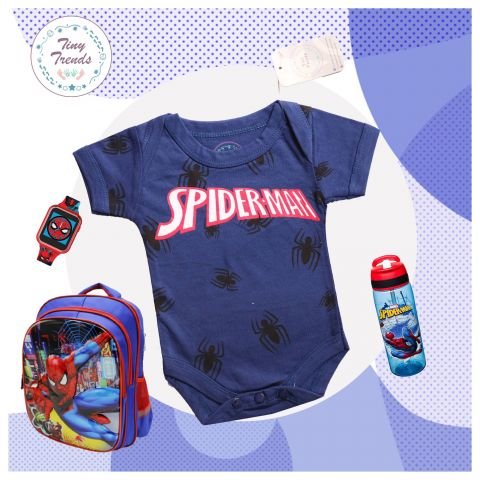 Tiny Trendss Spider All Over H/S Body Suit, Navy