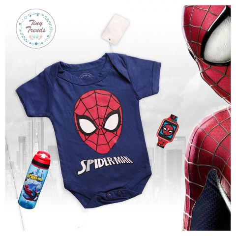 Tiny Trendss Spider Face H/S Body Suit, Navy