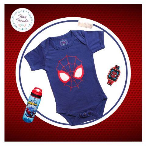 Tiny Trendss Spider Skellation H/S Body Suit, Navy