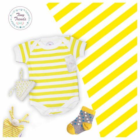 Tiny Trendss Stripe White H/S Body Suit, White/Yellow