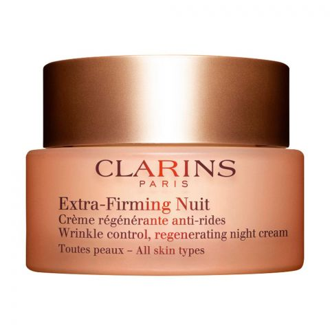 Clarins Paris Extra-Firming Nuit Wrinkle Control Regenerating Night Cream, All Skin Types, 50ml