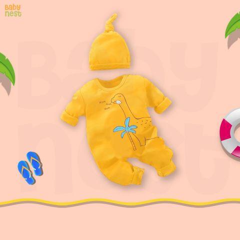 Baby Nest Jumpsuit With Cap, Nom Nom Nom Yellow