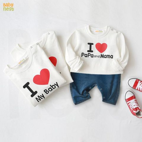 Baby Nest Denim Half Jumpsuit, I Love Pappa & Mama