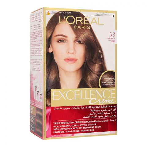 Loreal Excllence Creme Hair Colour, Light Golden Brown, 5.3