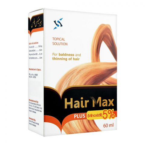 Hair Max Plus, 5% Minoxidil, Tropical Solution For Baldness & Thinning of Hair, 60ml