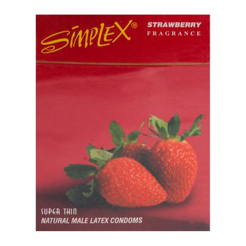 Simplex Strawberry Super Thin Natural Male Latex Condoms 3-Pack