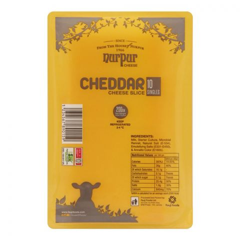 Nurpur Cheddar Cheese Slices, 10-Pack, 200g