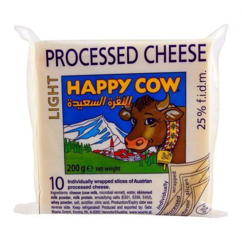 Happy Cow Light Processed Cheese, 10 Slices, 200g