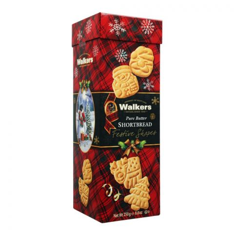 Walkers Pure Butter Shortbread Biscuits, Festive Shapes, 250g