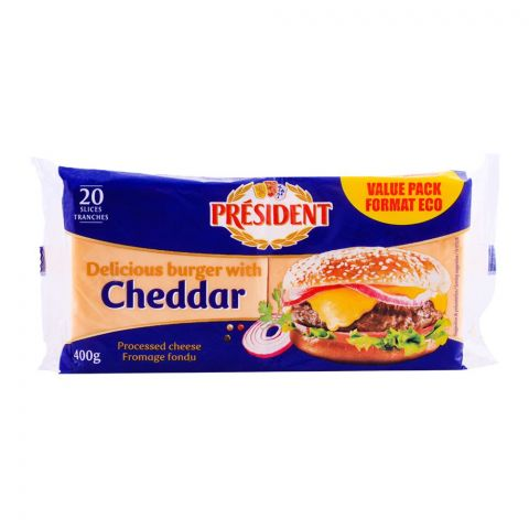 President Cheddar Burger Slice Cheese, 20 Slices, 400g