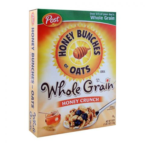 Post Whole Grain Honey Crunch Honey Bunches of Oats Cereal 510g