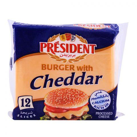 President Cheddar Burger Slice Cheese, 12 Slices, 200g
