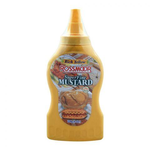 Rossmorr Super Fine Mustard, Rich Yellow, Bottle, 226g