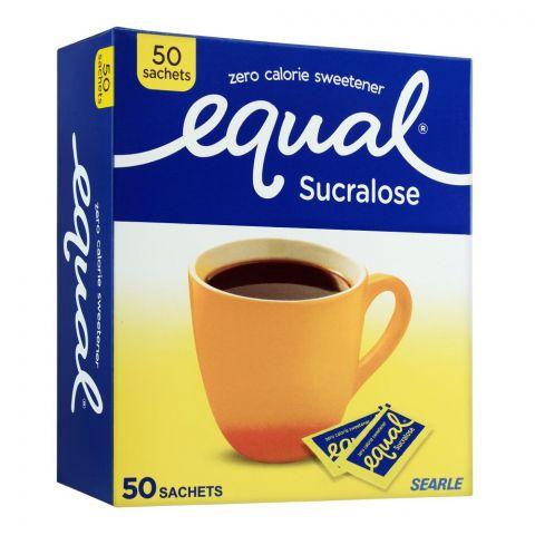 Equal Sucralose Zero Calories Sweetener Sachets, 50-Pack
