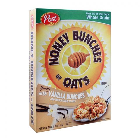 Post Vanilla Bunches & Whole Grain Flakes Honey Bunches of Oats Cereal 510g