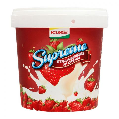 Igloo Supreme Strawberries N Cream Frozen Dessert, 1 Liter