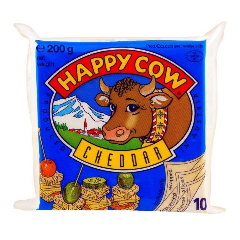 Happy Cow Cheddar Slice, 10-Pack, 200g