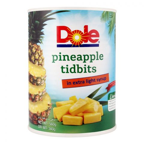 Dole Pineapple Tidbits, In Extra Light Syrup, 560g