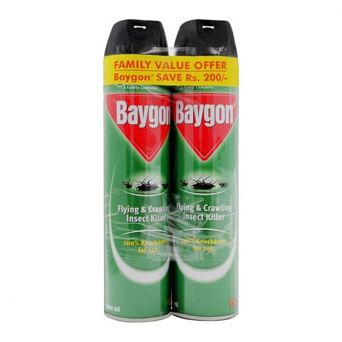 Baygon Flying & Crawling Insect Killer Spray Saver Pack, 2x600ml