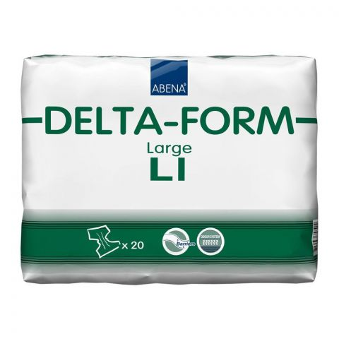 Abena Delta-Foam All-In-One Adult Incontinence Briefs, Large L1, 40-60 Inches, 20-Pack