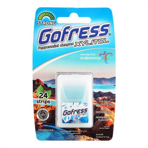Gofress Oral Care Strip, Peppermint, Strong, 24-Pack