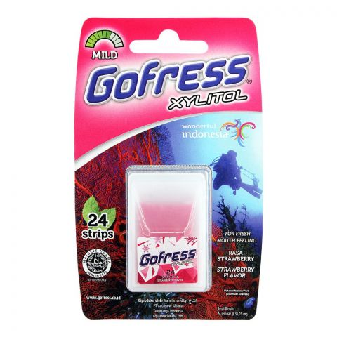 Gofress Oral Care Strip, Strawberry, Mild, 24-Pack